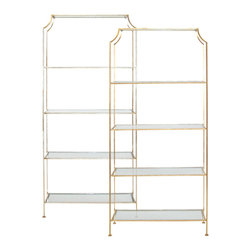 Worlds Away - Worlds Away Champagne Silver Leafed Etagere - with Clear Glass Shelves
