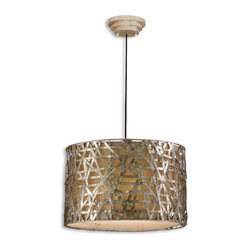 Alita 3-light Champagne Metal Drum Pendant