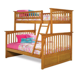 Atlantic Furniture - Columbia Twin Over Full Bunk Bed in Caramel L - Comes with a slat kit for mattress support. Includes two 14 pieces engineered hardwood slat kits. Made of premium, eco-friendly hardwood with a 5-step finishing process. Solid hardwood Mortise & Tenon construction. 26-Steel reinforcement points. Designed for durability. Guard rails match panel design. Meet or exceed all ASTM bunk bed standards, which require the upper bunk to support 400 lbs.. Clearance from floor without trundle or storage drawers: 11.25 in.. 80.5 in. L x 58.38 in. W x 68.13 in. H. Optional flat panel drawers: 74 in. L x 22 in. W x 12 in. H. Optional raised panel drawers: 74 in. L x 24.38 in. W x 12 in. H. Optional raised panel trundle: 74.75 in. L x 40.38 in. W x 11.63 in. H. Bunk Bed Warning. Please read before purchaseThe Columbia bunk bed features a classic Mission style design with subtle curves and solid post construction.