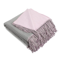 None - Brushed Bamboo Viscose Reversible Bi-color Throw - Made of an extraordinarily smooth bamboo viscose and polyester blend,the brushed bamboo viscose bi-color throw is reversible in solid colors with hand tied fringes. This throw is a perfect,versatile blanket for your living room or outdoor adventures.
