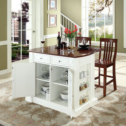 "Crosley - Kitchen Island Set - Constructed of solid hardwood and wood veneers, this kitchen island is designed for longevity. The handsome raised panel doors and drawer fronts provide the ultimate in style to dress up any culinary space. Raise the drop leaf to expand your serving space, or just sit at the breakfast bar and eat your meal. Behind the doors, you will find adjustable shelves and an abundance of storage space for objects you'd prefer to keep hidden. Open storage on both ends provides easy access to frequently used items, and is perfect for displaying decorative objects. Raised diamond accents and fluted pilasters are sure to impress your guests. Style, function, and quality make this kitchen island a wise addition to your home. Features: -Sculpted edges on each end of top.-Drop leaf for additional space or dining.-Open storage with adjustable shelves on each end.-Raised panel doors, drawers and side panels.-Breakfast bar top.-Product Type: Butcher block island.-Collection: Oxford.-Hardware Finish (Base Finish: Black): Brushed Nickel.-Hardware Finish (Base Finish: Classic Cherry): Antique Brass.-Hardware Finish (Base Finish: White): Brushed Nickel.-Distressed: No.-Powder Coated Finish: No.-Gloss Finish: No.-Base Material: Hardwood and veneers.-Hardware Material: Steel.-Solid Wood Construction: No.-Exterior Shelves: Yes .-Drawers Included: Yes -Number of Drawers: 2.-Push Through Drawer: Yes.-Dovetail Joints: No.-Drawer Dividers: No.-Drawer Handle Design: Knob.-Silverware Tray : No..-Cabinets Included: Yes -Number of Cabinets : 1.-Double Sided Cabinet: No.-Number of Interior Shelves: 2.-Adjustable Interior Shelves: Yes.-Number of Doors: 2.-Magnetic Door Catches: Yes.-Locking Doors: No.-Door Handle Design: Knob..-Towel Rack: Yes -Removable Towel Rack: No..-Pot Rack: No.-Spice Rack: No.-Cutting Board: No.-Drop Leaf: No.-Drain Groove: No.-Trash Bin Compartment: No.-Stools Included: Yes.-Casters: No.-Wine Rack: No.-Stemware Rack: No.-Cart Handles: No.-Finished Back: Yes.-Swatch Available: No.-Commercial Use: No.-Recycled Content: No.-Eco-Friendly: No.-Product Care: Use a soft clean cloth that will not scratch the surface when dusting. Use of furniture polish is not necessary. Should you choose to use a furniture polish, test in an inconspicuous area first. Use of solvents of any kind could damage your furniture's finish. To clean, simply use a soft cloth moistened with lukewarm water, then buff with a dry soft clean cloth..Specifications: -ISTA 3A Certified: Yes.Dimensions: -Overall Height - Top to Bottom: 36"".-Overall Width - Side to Side: 48.25"".-Overall Depth - Front to Back: 23"".-Width Without Side Attachments: 40"".-Countertop Thickness: 1.5"".-Countertop Width - Side to Side: 42"".-Countertop Depth - Front to Back: 23"".-Shelving: -Shelf Height - Top to Bottom: 22.5"".-Shelf Width - Side to Side: 19"".-Shelf Depth - Front to Back: 16.5""..-Drawer: -Drawer Interior Height - Top to Bottom: 4"".-Drawer Interior Width - Side to Side: 19.5"".-Drawer Interior Depth - Front to Back: 15.5""..-Cabinet: -Cabinet Interior Height - Top to Bottom: 22.5"".-Cabinet Interior Width - Side to Side: 38"".-Cabinet Interior Depth - Front to Back: 16.5""..-Stool: -Stool Height - Top to Bottom: 40.5"".-Stool Width - Side to Side: 18.5"".-Stool Depth - Front to Back: 22.5"".-Stool Weight: 9 lbs..-Overall Produc"
