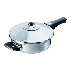Kuhn Rikon - Kuhn Rikon Duromatic 2.5 Quart Pressure Cooker Frypan - The Kuhn Rikon 2.5 quart pressure frypan features a waffle texture base for fat-free sauting and frying.  Five over-pressure safety systems, UL listed.  Integrated automatic locking system.  18/10 stainless steel will not interact with food.  Solid thermal aluminum sandwich for even browning and rapid heat absorption.  New generation spring-loaded precision valve.  User-friendly operation.  10-year warrantee on all non-replaceable parts, material and workmanship. Made in Switzerland. Quick Cuisine Cookbook, a $14.00 value - free.   Suggested Uses: Browning and braising meats  Risotto  Chops  Fat-free fried chicken  Dinner for 2-4   The Quick Cuisine guide, included with every pressure cooker purchase includes:   Pressure Cooking Methods  General Cooking Instructions  Recipes  Other Uses for Your Pressure Cooker  Accessories and Parts Guide  Click here for great recipesto help you get the best out of your Kuhn Rikon products.