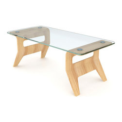 """Lounge22 - Osaka 48"""" Coffee Table with Tempered Glass Top - Combining soft and hard, the natural Osaka Coffee Table mixes glass and bamboo. This diminutive piece is bold enough to stand on its own. It echoes perfect with the bent silhouette of the Osaka Chair."""