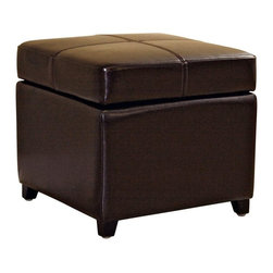 Wholesale Interiors - Baxton Studio Leather Storage Ottoman - This square storage ottoman is a versatile piece useful in any room of your home. This elegant ottoman provides styles and room to keep items out of sight yet close at hand to meet both your decorative and storage needs. Interior frame built to last with sturdy construction consisting of kiln dried hardwood frame, with high density foam padding and hinged lid for easy opening and closing. Durable polyurethane coated leather upholstery for longer lasting use and stain resists for easy clean up. Leg constructed with solid rubber wood with veneer finish completes with elegant smooth, clean lines design. The perfect combination of quality craftsmanship with simple and sophisticated designs, that will instantly enhance any room decor.