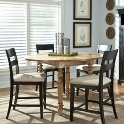 Legacy Pleasant Grove 5 Piece Counter Height Dining Table Set - Black - The Legacy Pleasant Grove 5 Piece Counter Height Dining Table Set offers an intriguing contrast of finishes and country and contemporary elements, including golden wheat and java finishes and a minimalist ladderback chair design. The counter-height pub table comes with two 13-inch drop leaves that can be used singly or together, and features classic country details such as turned legs and a plank-style tabletop.About Legacy Classic FurnitureCommitted to offering the best of today's youth-bedroom styles for the young and young at heart, Legacy Classic Furniture offers a wide selection of best selling designs and finishes with a large variety of beds and storage and study options. Dedicated to providing outstanding quality at reasonable prices, Legacy Classic Furniture employs quality materials, proven construction techniques, and the highest safety standards to manufacture exceptional products that are built to last a lifetime.Note about drawer features:All Legacy products use Kenlin's Rite-Trak drawer guide system. Exceptionally quiet and smooth, this system features positive stops and close tolerances for better drawer fit. Kenlin drawer guides are made with precision steel guides and runners, permanent lubrication, and specially engineered plastic components for years of reliable performance.