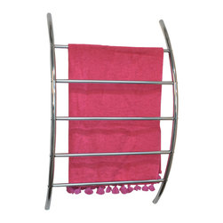 Wall Mount Towel Organizer with 5 Bars Chrome Plated Finish - This wall mount towel organizer for bathrooms is metal and has a chrome plated finish. It features 5 curved bars to keep the towels off the floor and neatly organized. Its stylish design serves as a functional holder and dryer for your bathroom towels. This towel organizer maximizes wasted space and your towels will be ready whenever you are. Easy to assemble with the included hardware. Clean with warm soapy water. Width 17.9-Inch, height 28.1-Inch and depth 6.1-Inch. Color chrome. It's an easy and elegant way to maximize your bathroom's available space while providing functional storage and shelving for all your necessities. Give a decorative touch to your bathroom with this useful metal space saver! Imported.