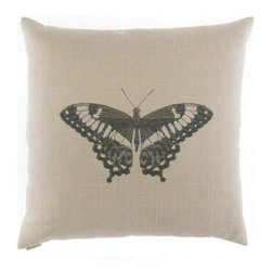 "Canaan - 24"" x 24"" Papilla Butterfly Print Pattern Fabric Throw Pillow - 24"" x 24"" Papilla butterfly print pattern fabric throw pillow with a feather/down insert and zippered removable cover. These pillows feature a zippered removable 24"" x 24"" cover with a feather/down insert. Measures 24"" x 24"". These are custom made in the U.S.A and take 4-6 weeks lead time for production."