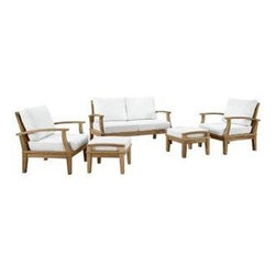 """LexMod - Marina 5 Piece Outdoor Patio Teak Sofa Set in Natural White - Marina 5 Piece Outdoor Patio Teak Sofa Set in Natural White - Harbor your greatest expectations with this luxurious solid teak wood outdoor set. Marina has a seating arrangement perfect for every member of your crew as you breathe the fresh crisp air of a day spent with friends and family. Known for its natural ability to withstand extreme weather conditions, teak is the wood selection of choice for long-lasting outdoor furnishings. Now you can enjoy Marinas durable construction and all-weather cushions, alongside a modern design that persistently looks new and welcoming. Zoom in on the product image before you, and see the exquisite texture and detail for yourself. Set Includes: One - Marina Teak Sofa Two - Marina Teak Armchair Two - Marina Teak Ottoman Solid teak wood construction, Richly textured wood graining, Water & UV Resistant Cushions, Machine Washable Covers Overall Armchair Dimensions: 31.5""""L x 32.5""""W x 31.5""""H Overall Sofa Dimensions: 32.5""""L x 56.5""""W x 31.5""""H Overall Ottoman Dimensions: 23.5""""L x 21""""W x 11""""H Seat Dimensions: 31""""L x 26""""W x 12""""HBACKrest Height: 20""""H Armrest Height: 12""""H Overall Product Dimensions: 65""""L x 121.5""""W x 31.5""""H - Mid Century Modern Furniture."""