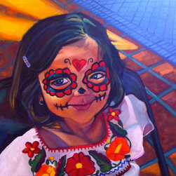 CNoriega Fine Art, Inc. - 'Girl with Calavera Face Paint' Artwork - Introduce an element of Latin American art and tradition with this painting. A celebration of life and death and the memory of those who've passed, this smile will remind you of life in its best form.