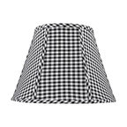"Lamps Plus - Country - Cottage Black and White Check Lamp Shade 8x14x11 (Spider) - A pretty black and white check cotton fabric gives this softback drum shade a stylish charm. This shade comes with a spider fitting. Black and white check pattern drum lamp shade. Empire softback shade. Cotton fabric exterior with silk lining. Chrome finish spider fitter. 8"" across the top 14"" across the bottom and 11"" high. Fitter drop is 1/2"". Use with maximum one 100 watt bulb.  Black and white check pattern drum lamp shade.   Empire softback shade.   Cotton fabric exterior with silk lining.   Chrome finish spider fitter.   8"" across the top 14"" across the bottom and 11"" high.   Fitter drop is 1/2"".   Use with maximum 100 watt bulb."