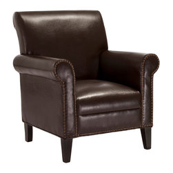 Great Deal Furniture - Ryker Chocolate Brown Leather Club Chair - The Ryker Studded Club Chair is a statement piece for any living room in your home. This traditional chair has ample cushioning and a spacious seat making it a comfortable addition to home decor. The studded detailing on the face of the armrests and frame show attention to detailing and give the Ryker Chair a refined feel.