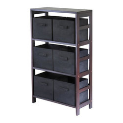 Winsome Wood - Vertical Wood Storage Cabinet w Three Shelves - Three sections with a total of six storage baskets create a spacious place  for hard to place items around your home. Use in any room, and take advantage of the strong wood frame and stylish walnut finish, while keeping clothes, linens, or children's items neatly put away. * Capri Collection. Walnut finish unit. Black color baskets. Wood Unit. Fabric baskets. Assembly required. Shelf Unit: 25.25 in. L x 11.25 in. W x 42 in. H, 34 lbs. Basket: 10.97 in. L x 10.06 in. W x 9 in. H. 1.2 lbs