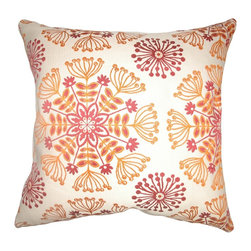 "The Pillow Collection - Jamesie Floral Pillow Flame - Stylize your home with this scene-stealing square pillow with a floral print pattern. This decor pillow features beautiful shades of Flame in white, yellow and orange. This 18"" pillow is a perfect accent piece, which you can add to your sofa or bed. Mix and match this with contemporary designs for a funky vibe. This decor pillow is made from 68% cotton and 32% rayon. Hidden zipper closure for easy cover removal.  Knife edge finish on all four sides.  Reversible pillow with the same fabric on the back side.  Spot cleaning suggested."