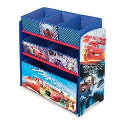 Adarn Inc - Children Blue Disney Cars Multi Fabric Bin Toy Book Storage Organizer Box - The Disney Cars Multi-Bin Toy Organizer helps your little one keep his room organized while providing a bright splash of color. The Disney Cars Multi-Bin Toy Organizer is a charming and functional toy bin organizer that makes tidying up fun. Complements other items sold separately online by children's products. With a brand new color scheme, and six uniquely sized storage boxes, this organizer makes cleaning up easy and exciting. Meets all JPMA safety standards. Some assembly required.