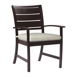 Frontgate - Charleston Arm Chair with Cushion, Patio Furniture - Durable wrought aluminum frames. Offered in Mahogany or Oyster ultra UV resistant finish. Dining tables and square coffee table require some assembly. Cushions feature exclusive Sunbrella® fabrics, the finest solution-dyed, all-weather material available. Historically one of our oldest port cities, Charleston is known for a rich blend of many cultures and craftsmanship. The Charleston Collection by Summer Classics blends wide-plank coastal furniture design with updated proportions and technological sensibility. The Euro Lounge Chair comfortably sits between dining and lounge seat heights, answering the call for a more relaxed dining or chat group.  .  .  . Cushions feature exclusive Sunbrella fabrics, the finest solution-dyed, all-weather material available . Note: Due to the custom-made nature of the cushions, any fabric changes or cancellations made to the Charleston Collection by Summer Classics must be made within 24 hours of ordering.