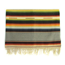 Consigned Saltillo Serape w/ Grey Bands - Pre-1960s Saltillo serape throw with solid tan bands alternating with classic ombre stripes.