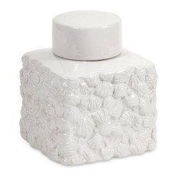 iMax - iMax Walton Seashell Lidded Jar - Small X-35252 - This chic white lidded jar is transformed into classy coastal with a rich texture of overlapping seashell impressions.