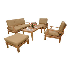 Anderson Teak - Brianna 5 Pc Deep Seating Set - Unfinished (Canvas - Jockey Red) - Choose Sunbrella Cushion: Canvas - Jockey Red. Includes rectangular coffee table, 2 deep seating armchairs, deep seating sofa and ottoman. Sunbrella cushions included. Slat back design chairs. Solid Teak wood construction. Pictured with Dupione Bamboo Sunbrella cushions. Minimal assembly required. Table: 47 in. W x 23 in. D x 19 in. H (37 lbs.). Sofa: 71 in. L x 27 in. W x 32 in. H (97 lbs.). Armchair: 31 in. W x 27 in. D x 32 in. H (57 lbs.). Ottoman: 26 in. L x 26 in. W x 10 in. H (23 lbs.)