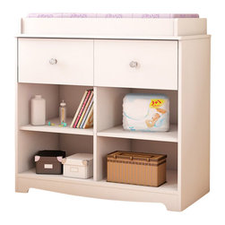 South Shore - South Shore Little Jewel Country Style Changing Table in Pure White - South Shore - Baby Changing Tables - 3180337 - This Little Jewel Changing Table in Pure White finish features rounded contours for your baby's safety and comfort. The practical drawer comes with elegant Nickel finish metal handle and is equipped with metal slides. In addition there are 4 easy access open storage compartments to keep baby products within reach. This changing table meets or exceeds all US Consumer Product Safety Commission Standards and conforms to ASTM standards as well (ASTM F2388). The interior drawer dimension is 32-inch wide by 13-3/4-inch front to back by 4-1/4-inch high. New and improved drawer bottoms made with wood fibers. Changing pad and accessories not included. Weight of the child should not exceed 30 pounds. Manufactured from certified Environmentally Preferred laminated particle panels. Complete assembly required by 2 adults. Tools are not included.  5-Year limited warranty. Made in Canada.