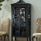 Oscar de la Renta Collection Pagoda Bar Cabinet - This stunning pagoda bar cabinet by Century Furniture would make quite an elegant focal point in your home. I love the pagoda top, fretwork, and ample storage capacity.
