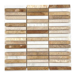 "GlassTileStore - Esker Navajo Sand Bricks Marble Tile - Esker Navajo Sand Bricks Marble Tile             This marble mosaic will provide endless design possibilities from contemporary to classic. It creates a great focal point to suit a variety of settings. The mesh backing not only simplifies installation, it also allows the tiles to be separated which adds to their design flexibility. Natural stones are products of nature, therefore, variations in color, pattern, texture, and veining will occur.         Chip Size: 5/8""x 4""   Color: Lagos Beige, Asian Statuary and Ivory Travertine   Material: Marble   Finish: Honed and Chiseled    Sold by the Sheet - each sheet measures 12"" x 12"" (1 sq. ft.)   Thickness: 10mm   Please note each lot will vary from the next.            - Glass Tile -"