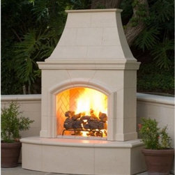American Fyre Designs Phoenix Outdoor Fireplace - Your American Fyre Designs Phoenix Outdoor Fireplace is an instant way to add warmth and elegance to your outdoor living space. A well-designed beauty, this fireplace is easy to assemble and comes in a handsome Silverado finish. The DIY kit includes your bull nose hearth, arched and molded body, stately chimney, crisscross brick firebox, and a deluxe 24-inch charred oak log. All you need to do is choose your fuel source (natural gas or liquid propane) and assemble. Simply stack and bolt the fireplace together in your backyard or on an existing concrete pad. This fireplace is designed for outdoor use as it's made of lightweight yet ultra durable fiberglass reinforced concrete. Ideal for all climates!Note: Review any building restrictions or construction permit requirements before installation of an outdoor fireplace. Contact your local zoning commission/homeowners association for details.Contact a licensed contractor for installation as this product may require connection to a natural gas line.About American Fyre DesignsR. H. Peterson Company, a premium gas product manufacturer, launched American Fyre Designs in 2013. This complete line of uniquely designed and handcrafted exterior fire features are meant to meet the growing demand for outdoor living products. Pre-fabricated exterior fireplaces, fire tables, urns, pits, walls and BBQ islands make up this unique line and each item is constructed of durable, lightweight glass fiber reinforced concrete. Everything in the American Fyre Designs line is made in the USA and follows strict quality standards using advanced technology.
