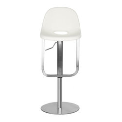 Safavieh - Andrina Barstool - Contoured for comfort, the adjustable Andrina barstool by Safavieh marries form with function. With its sleek Italian-inspired lines, this contemporary barstool is crafted of stainless steel and upholstered in white regenerated and PU leathers. The Andrina barstool can be positioned from 33.46 to 42.91 inches in total height.