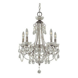 Crystal Tear Drop 5 Light Up Lighting Mini Chandelier - Nothing says elegance and refinement like a gorgeous chandelier!  This Crystal Tear Drop Mini Chandelier is just right for the entry or master bath with a soaring ceiling.  Hang it right over the bathtub so you can look up at its beauty during a relaxing bubble bath.