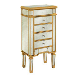 Elegant Lighting - Elegant Lighting MF1-5102GA Florentine 4-Drawer Jewelry Armoire - This Armoire from the Florentine collection by Elegant Lighting will enhance your home with a perfect mix of form and function. The features include a Gold and Antique Mirror finish applied by experts. This item qualifies for free shipping!