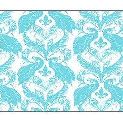 Casart coverings - French Damask, White/Turquoise Wallcoverings, White/Turquoise, Backsplash (15 Sq - French Peacock Damask is unmistakably French with its fleur de lis!