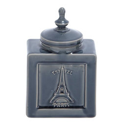 """Benzara - Unique Designed Ceramic Jar with Eiffel Tower Image - Fill your interiors with the artistic feel and positive vibrancy with this unique ceramic jar. This alluring jar is made of high quality ceramic and sports features befitting a worthy art piece. Perfectly designed to adorn your home or office space with grace and poise, this ceramic jar comes in a metallic hue with a shiny finish that enhances both the visual and aesthetic appeal. The jar is box shaped with a perfectly fitting lid on the top. The rectangular base is stably designed and offers adequate balance to the jar. The lid comes with a circular base and is extended like a dome to taper and end up with a finial like accent. The front portion has crackled details that hold an attractive image of the Eiffel tower. This jar can be easily dusted and cleaned whenever necessary and can be proudly displayed like a valuable art piece to enhance the decor..; High quality ceramic jar; Box shaped with cute lid; Metallic hue with shiny finish; Crackled details with Eiffel tower image; Weight: 2.34 lbs; Dimensions:6""""W x 3.5""""D x 9""""H"""