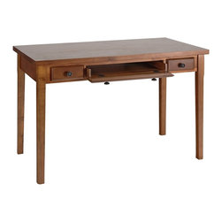 Holly & Martin - Holly & Martin Jackson Desk in Medium Mahogan - Classic style desk with pecan finish fits easily into most decor. It gives you a large workspace as well as a couple small drawers. In the middle is a slide out keyboard tray.  Drawer hardware is cast metal with an antique finish. Legs are solid birch. * Slide out keyboard drawer. Rich pecan Finish. Cast metal hardware. Solid Birch legs. Birch veneer top. Made from Asian hardwood and MDF with veneer. Assembly Requiredli>45 in. W x 23.75 in. D x 30 in. H  (58.1 lbs.). Assembly Instructions. Simple yet classic styling makes this desk the perfect addition to your home. With a slide out keyboard tray and a small pen drawer on either side, this convenient desk is the perfect solution for writing or computer space in any room. Crafted with solid birch hardwood legs, a birch veneer top, and gun metal gray hardware, you are sure to enjoy countless years of enjoyment from such a classically beautiful piece.
