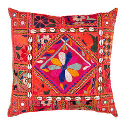 Surya Rugs - 22-Inch Square Red Multi-Color Bohemian Cotton Pillow Cover with Down Insert - - 22 x 22 100% Cotton Pillow Cover w/ Down Insert.   - For more than 35 years Surya has been synonymous with high quality innovation and luxury.   - Our designers have masterfully created some of the most cutting edge and versatile pieces to bring out the best in every room.   - Encompassing their expert understanding of the latest trends in fashion and interior design each product is a perfect combination of color pattern and texture to accommodate the widest range of tastes.   - With Surya the best in design and quality is at your fingertips.   - Pantone: Dark Olive Green Blue Corn Blackberry Deep Rose Magenta Red Rust Red Paprika Burnt Orange Orange Peel Sienna Desert Sand Coal Black Army Green Parchment.   - Made in India.   - Care Instructions: Spot Clean.   - Cover Material: 100% Cotton.   - Fill Material: Down. Surya Rugs - AR070-2222D