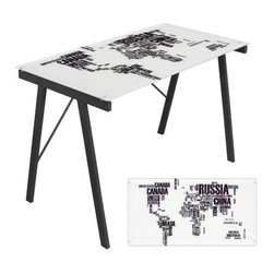 "LumiSource - World Map Office Writing Desk - The World Map Office Desk features a unique world map print to give your office or dorm room a unique look! This desk features a tempered glass atop a sturdy steel frame. Works great as a drafting table as well. Features: -Office Desk.-Unique printed tempered glass top.-Desk Type: Writing Desk /Computer Desk.-Base Finish: Black.-Gloss Finish: No.-UV Finish: No.-Top Material: Tempered Glass.-Base Material: Metal.-Hardware Material: Metal.-Number of Items Included: 1.-Non-Toxic: Yes.-Water Resistant: No.-Stain Resistant: No.-Heat Resistant: No.-Style: Modern.-Design: Standard.-Distressed: No.-Eco-Friendly: No.-Cable Management: No.-Keyboard Tray: No.-Height Adjustable: No.-Drawers Included: No.-Exterior Shelving: No.-Cabinets Included: No.-Ergonomic Design: Yes.-Handedness: Both.-Scratch Resistant: No.-Chair Included: No.-Legs Included: Yes -Leg Material: Metal.-Leg Glides: No..-Casters Included: No.-Hutch Included: No.-Treadmill Included: No.-Cork Back Panel: No.-Modesty Panel: No.-CPU Storage: No.-Built In Outlet: No.-Built In Surge Protector: No.-Light Included: No.-Modular: No.-Lifestage: Tween - Adult.-Application: Home Office, Professional, Dormroom.-Commercial Use: Yes.-Product Care: Wipe clean with a dry cloth, clean glass surface with glass cleaner.-Weight Capacity: 100 lbs.-Swatch Available: No.-Recycled Content: No.Specifications: -FSC Certified: No.-EPP Certified: No.-Green Guard Certified: No.-ANSI BIFMA Certified: No.-SCS Certified: No.-ADA Compliant: No.-FIRA Certified: No.-GSA Approved: No.Dimensions: -Overall Height - Top to Bottom: 28.75"".-Overall Width - Side to Side: 44.5"".-Overall Depth - Front to Back: 22.75"".-Desk Return: No.-Credenza: No.-Bridge: No.-Cabinet: No.-Drawer: No.-Shelving: No.-Seat: No.-Desktop Height: 28.75"".-Desktop Width - Side to Side: 44.5"".-Desktop Depth - Front to Back: 22.75"".-Hutch: No.-Legs: Yes.-Overall Product Weight: 36 lbs.Assembly: -Assembly Required: Yes.-Tools Needed: Allen Key.-Additional Parts Required: No.Warranty: -Product Warranty: 90 Day Limited."