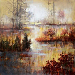 YOSEMITE HOME DECOR - Autumn River Art Painted on Canvas - Acrylic paints in shades of orange, crimson, yellow, and rose painted with a gentle touch help to create a relaxing yet vibrant piece.