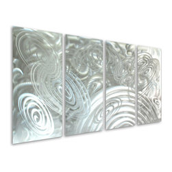 Pure Art - Swirls of Forever Handcrafted Aluminum Wall Hanging Set of 4 - Swirls and whirls of abstract design that seem to go on forever and ever come together in this fabulously crafted metal wall art grouping! The Swirls of Forever Handcrafted Aluminum Wall Hanging Set of four panels features neverending swirls that play tricks on the eye and that cause passersby to stop and stare.  Hang this decadently styled metal wall hanging in any room where you want to use the simplicity of silver and the excitement of the abstract to create a strong visual focal point that is undeniably chic and svelte.Made with top grade aluminum material and handcrafted with the use of special colors, it is a very appealing piece that sticks out with its genuine glow. Easy to hang and clean.