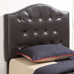 Coaster - 460302 Twin Headboard - This headboard features a gently curved crown and traditional button tufting for a transitional style that will blend easily with any decor. Available in a rich dark brown faux leather.