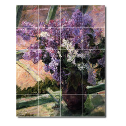 Picture-Tiles, LLC - Lilacs In A Window Tile Mural By Mary Cassatt - * MURAL SIZE: 40x32 inch tile mural using (20) 8x8 ceramic tiles-satin finish.