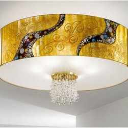 "Emozione Kiss Ceiling Lamp - Emozione Kiss Ceiling lamp is part of the Kiss collection inspired by the world famous painting ""The Kiss"" by Gustav Klimt. The Kiss was painted between 1908 - 1909 at the highpoint of his ""Golden Period"", when he painted a number of works in a similar gilded style. This light series is designed by artistique minds using the finest materials, metal and crystal, beeing a unique creation and fashioned to reflect individual personality and lifestyle. Emozione Kiss lamp has a cylindrical shape hand-decorated with an intricate and colourful pattern and a 24k gold plated frame with Swarovski or Pure Kolarz crystals. Several chains of clear and gold Swarovski or clear Pure Kolarz crystals are suspended from the centre of the shade. Combining its distinctive design with the highest quality of its materials the ceiling light is a luxury path for both commercial and residential interiors. Illumination is provided by E27, 60W Incandescent bulb (not included).     .proddesc p{font-family: Verdana, sans-serif; font-size:8pt!important;}   .pdtable{font-family: Verdana, sans-serif; font-size:8pt!important;padding:10px;} Product Details: Emozione Kiss Ceiling lamp is part of the Kiss collection inspired by the world famous painting ""The Kiss"" by Gustav Klimt. The Kiss was painted between 1908 - 1909 at the highpoint of his ""Golden Period"", when he painted a number of works in a similar gilded style. This light series is designed by artistique minds using the finest materials, metal and crystal, beeing a unique creation and fashioned to reflect individual personality and lifestyle. Emozione Kiss lamp has a cylindrical shape hand-decorated with an intricate and colourful pattern and a 24k gold plated frame with Swarovski or Pure Kolarz crystals. Several chains of clear and gold Swarovski  or clear Pure Kolarz crystals are suspended from the centre of the shade. Combining its distinctive design with the highest quality of its materials the ceiling light is a luxury path for both commercial and residential interiors. Illumination is provided by E27, 60W Incandescent  bulb (not included). Details:                         Manufacturer:            Kolarz                            Designer:            Kolarz                            Made in:            Austria                            Dimensions:                        Diameter: 23.6""(60cm) X Height: 15""(38cm)                                         Light bulb:                        E27, 6x60W Incandescent bulb (not included)                                         Material:            Metal,  Crystal"