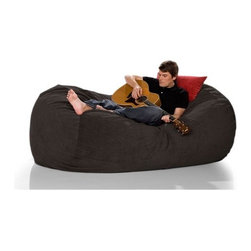 "jaxx - Bean Bag Sofa - Black and Espresso Velvish on sale now! Features: -100% Shredded furniture grade urethane foam / nylon liner / polyester microsuede / premium microfiber exterior cover.-Designer bean bag lounger.-Comfortable seating options for kid's rooms, family rooms, home theaters and dorms.-Liners are nylon rip stock with a child safety zipper.-Covers zip off for machine washing.-More plush and far more portable than a loveseat or recliner.-Moves with every twist and turn providing support to any lounging or seating position.-It takes you peacefully into the night.-Seats one comfortably.-Chic removable cover in designer textile for modern living spaces and loft dwellers.-Earth friendly.-Made in the USA.-Collection: Jaxx Bean Bags.-Distressed: No.-Country of Manufacture: United States.-Material: Microsuede.-Fill Included: Yes -Fill Material: Urethane foam..-Removable Cover: Yes.-Product Care: Removable cover: machine wash cold, tumble dry..Dimensions: -Overall Product Weight: 65.1 lbs.-Overall Height - Top to Bottom: 36"".-Overall Width - Side to Side: 64"".-Overall Depth - Front to Back: 47"".Warranty: -Product Warranty: 1 year manufacturer parts warranty."