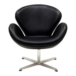 East End Imports - Wing Chair in Aniline Leather Black - The Wing Chair can be used as a lounger or as an office chair. It is elegantly designed, made to add a luxurious modern style to any office, reception area or living room.