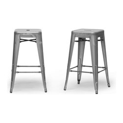 "Baxton Studio - Baxton Studio French Industrial Modern Counter Stool in Gunmetal (Set of 2) - We didn't think a piece of furniture could possess a skill such as talent until we met these spectacular seats. Cafe counter chairs? Industrial bar stools?  Minimalist modern counter stools? You decide, because we think this design is skilled enough to be all of the above.  This Chinese-built steel stackable counter stool is finished with a powder-coating of mottled metallic gunmetal.  To clean, wipe with a damp cloth.  Non-marking black plastic feet help protect sensitive flooring.  The stools are fully assembled. The French Industrial Collection includes counter stools, bar stools, and dining chairs in a selection of colors including gray, bronze, gunmetal, and white. Product: 17""x17""Dx26.5""H, seat dimension:12""Wx12""Dx26.5""Hc"