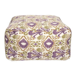 Surya - Surya Pouf X-611-FUOP - The southwestern pattern of this indoor/outdoor pouf will give your space the feel of the old west. The shape of this pouf not only makes it an ideal place to rest your feet, but allows it to be used as a coffee table as well. The colors in this pouf are muted tones of berry, olive green and brown.