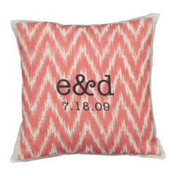 """Exposures - Ikat Personalized Pillow - Overview Celebrate your love for each other with an ikat personalized pillow that combines trends and traditions. Both you and your significant other's first name initials along with your anniversary date rest atop an exotic ikat pattern in your choice of coral, gray, or turquoise. This perfectly colored accent pillow makes the perfect addition to your bed or settee. It would also make a thoughtful wedding gift for the happy couple. Features Available in off-white linen (55% linen, 45% cotton) or white cotton (100% cotton) Insert is 100% polyester  Ikat throw pillow cover is removable  Spot clean cover    Personalization  Specify the first initials of each first name in the order you would like them to be printed Specify the month, date, and year in the format mm/dd/yy  Item is printed exactly as typed No returns on personalized items unless the item is damaged or defective   Specifications  Measures 14"""" x 14""""   Shipping  Please allow 2 to 3 days for personalized items"""