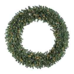 "Vickerman - Douglas Fir 60"" Wreath with Clear Lights - Features: -Wreath. -Douglas Fir collection. -Prelit with 200 clear Dura-Lit mini lights. -3 Section. -900 Tips. -Metal stand. -Manufacturer provides 1 year seasonal warranty."
