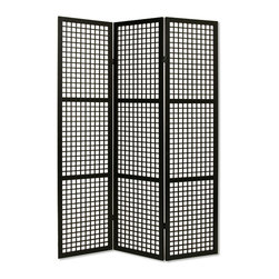 Screen Gems - Screen Gems Eternal Squares Screen - Eternal Square 3 Panel Black Floor Screen is made from a hardwood frame stained in Black with a square block pattern.  Finished the same on both sides. Color choices: Black  Brown
