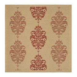 Safavieh - Country Square Rug in Natural and Red (6 ft. 7 in. x 6 ft. 7 in.) - Size: 6 ft. 7 in. x 6 ft. 7 in. Specially-developed sisal weave. Power loomed. Intricate and elaborated design. Machine made. Made from polypropylene. Made in Belgium. Safavieh takes classic beauty outside of the home with the launch of their Courtyard Collection. Care Instructions: Vacuum regularly. Brushless attachment is recommended. Avoid direct and continuous exposure to sunlight. Do not pull loose ends; clip them with scissors to remove. Remove spills immediately; blot with clean cloth by pressing firmly around the spill to absorb as much as possible. For hard-to-remove stains professional rug cleaning is recommended.