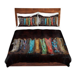 DiaNoche Designs - Duvet Cover Microfiber - RP Boots - DiaNoche Designs works with artists from around the world to bring unique, artistic products to decorate all aspects of your home.  Super lightweight and extremely soft Premium Microfiber Duvet Cover (only) in sizes Twin, Queen, King.  Shams NOT included.  This duvet is designed to wash upon arrival for maximum softness.   Each duvet starts by looming the fabric and cutting to the size ordered.  The Image is printed and your Duvet Cover is meticulously sewn together with ties in each corner and a hidden zip closure.  All in the USA!!  Poly microfiber top and underside.  Dye Sublimation printing permanently adheres the ink to the material for long life and durability.  Machine Washable cold with light detergent and dry on low.  Product may vary slightly from image.  Shams not included.