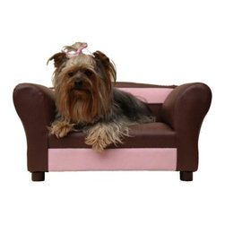 Fantasy Furniture Sofa Mini Pet Bed - Your pup will be living in the lap of luxury on her Fantasy Furniture Sofa Mini Pet Bed. This sofa-shaped pet bed is adorable and hand-crafted with a solid wood frame. Comfort comes from its high-density foam and style lives in the two-tone leatherette in your choice of accent color. This mini sofa is best for breeds up to 15 pounds.About Fantasy FurnitureFantasy Furniture has been dreaming up high-quality, family-friendly products since 1999. This company is based in San Diego, California. They're dedicated to bringing fun and beauty into the family home. Fantasy Furniture specializes in creating well-crafted and beautifully-designed furniture that's loaded with personality. Furniture for your pets, your kids, and you!