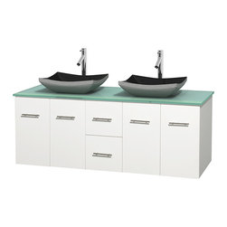 "Wyndham Collection - Centra 60"" White Double Vanity, Green Glass Top, Altair Black Granite Sinks - Simplicity and elegance combine in the perfect lines of the Centra vanity by the Wyndham Collection. If cutting-edge contemporary design is your style then the Centra vanity is for you - modern, chic and built to last a lifetime. Available with green glass, pure white man-made stone, ivory marble or white carrera marble counters, with stunning vessel or undermount sink(s) and matching mirror(s). Featuring soft close door hinges, drawer glides, and meticulously finished with brushed chrome hardware. The attention to detail on this beautiful vanity is second to none."